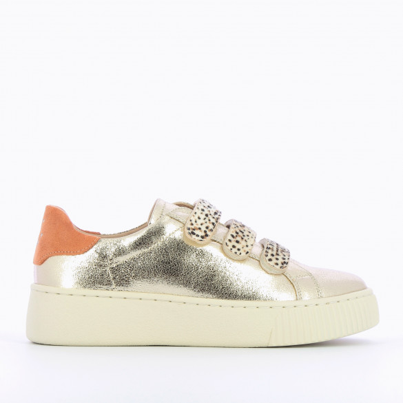 textured gold sneakers woman with velcro animal print cheetah creeper sole beige Vanessa Wu