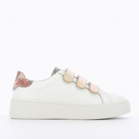 White sneakers with gold velcro