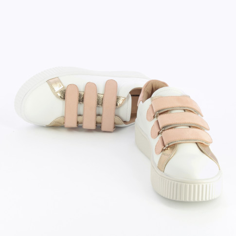 White sneakers with pink velcro