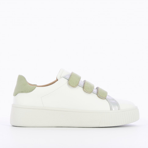 White sneaers with green velcro