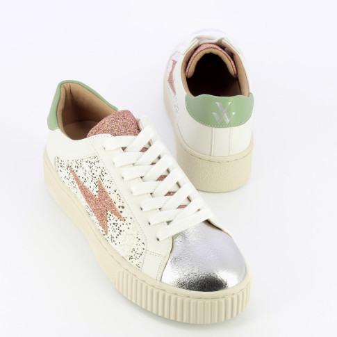 Glitter lightning sneakers with laces