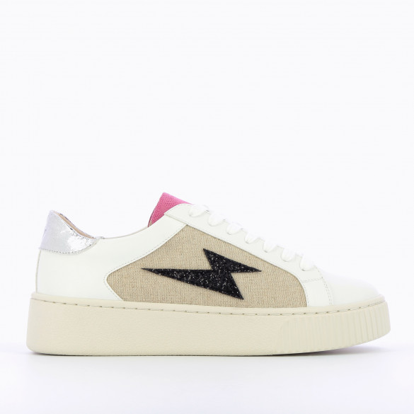 faux leather sneakers white with gray laces and beige tweed cutout black lightning woman Vanessa Wu