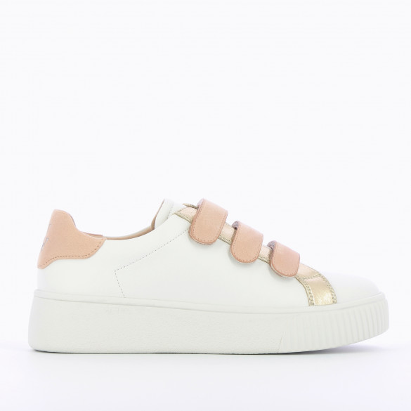 woman leather sneakers white with pastel pink suedette velcro Vanessa Wu creeper sole city shoes