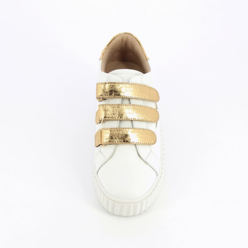 White lightning leather sneakers with gold velcro