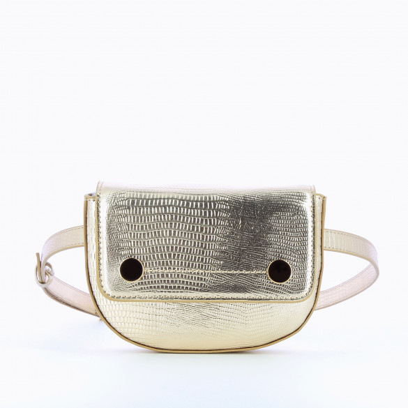 mini belt bag gold faux leather snakeskin effect with flap and gold buttons woman  Vanessa Wu