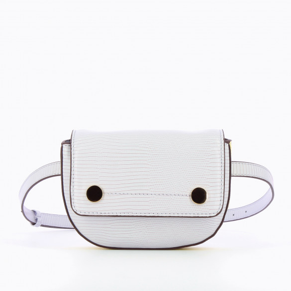 mini belt bag lilac in faux leather woman Vanessa Wu snakeskin effect with gold buttons