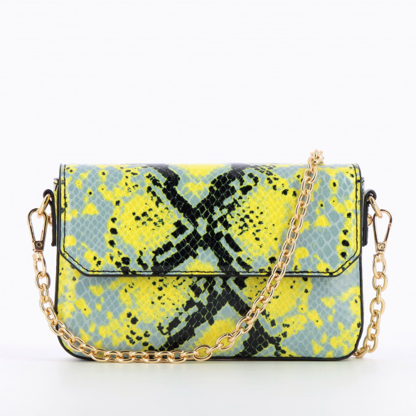 small bag snakeskin effect blue and yellow with flap and gold chain woman Vanessa Wu