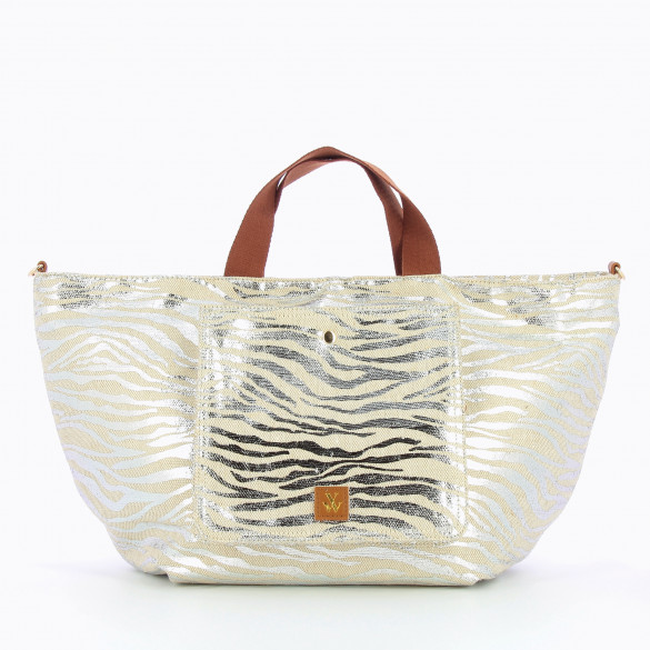 shopper bag large tweed effect zebra silver with camel handles Vanessa Wu woman