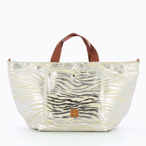 Silver zebra print shopper bag
