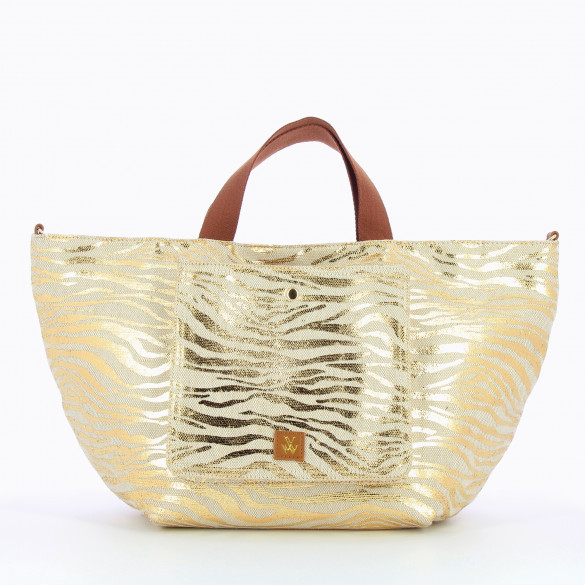 large shopper bag tweed effect beige zebra gold with camel handles Vanessa Wu woman