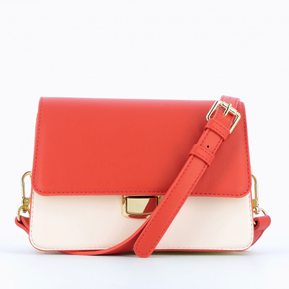 small handbag rigid with shoulder strap faux leather smooth red yellow and pastel pink woman Vanessa Wu