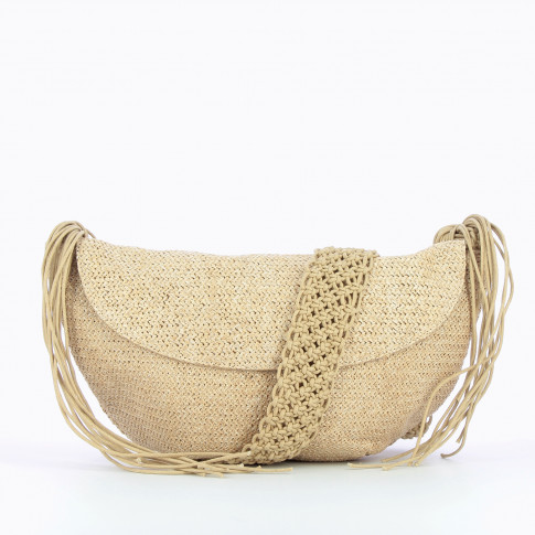Beige raffia effect carrier bag