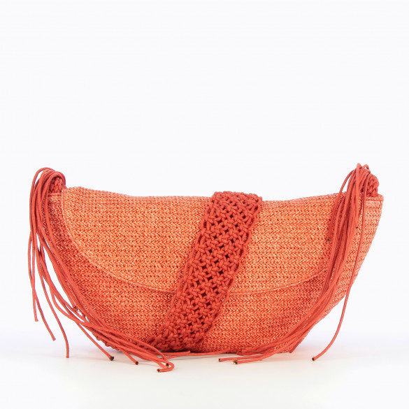 large carrier bag coral raffia effect woman Vanessa Wu with removable shoulder strap braided