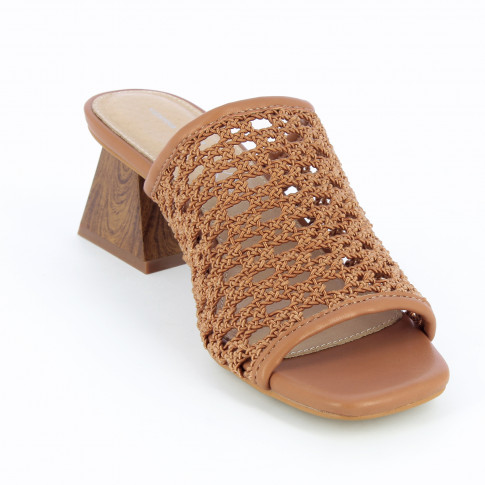 Camel mules with heel and caning