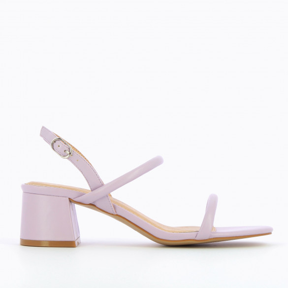 Pastel lilac sandals minimalist with block heel woman Vanessa Wu and rounded straps