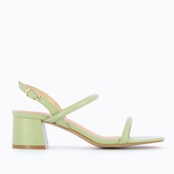 Pastel green sandals minimalist with block heel woman Vanessa Wu and rounded straps