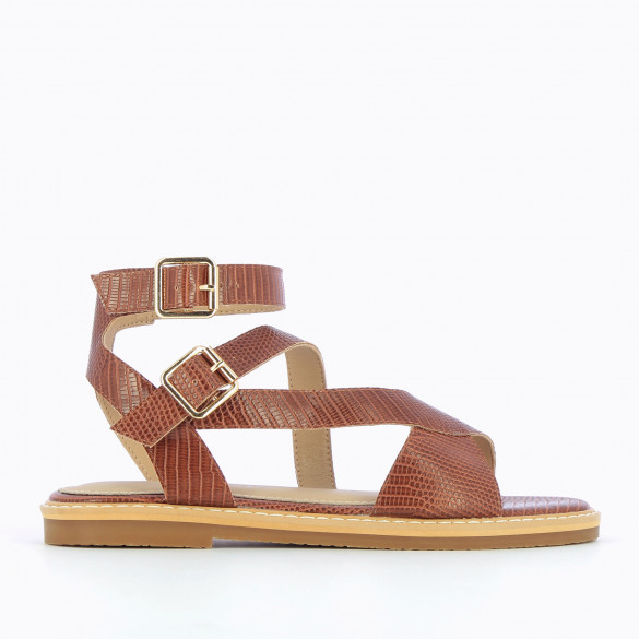 brown flat sandals snakeskin effect with high crossed straps and thick sole woman Vanessa Wu