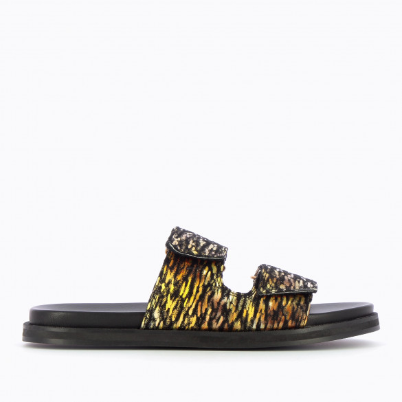Flat black mules with adjustable straps in downy material speckled gold holographic casual woman Vanessa Wu