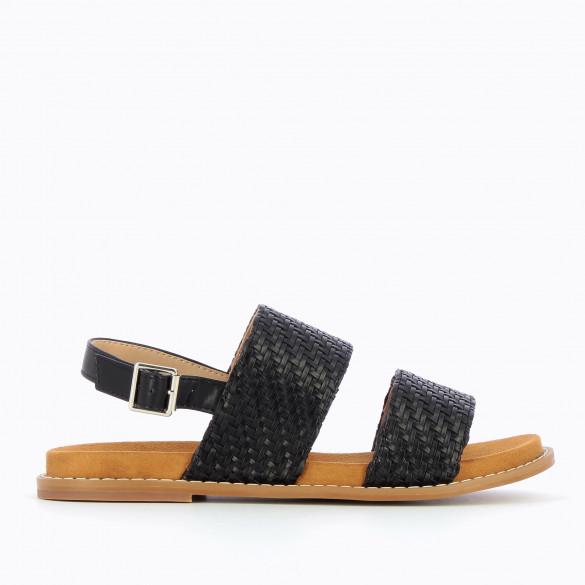 Black sandals woman Vanessa Wu flat with large braided straps and camel sole in suedette