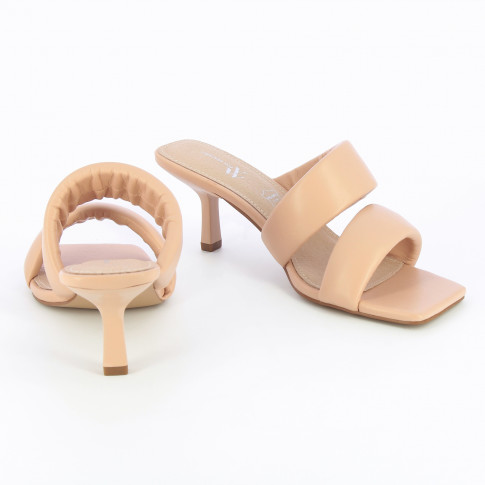 Pale pink mules with padded straps