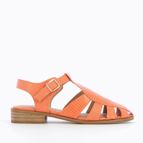 Coral sandals fisherman style snakeskin effect faux leather flat with camel sole woman Vanessa Wu