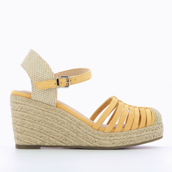 wedges pastel yellow woman Vanessa Wu openwork with heel beige in braided rope and ankle strap