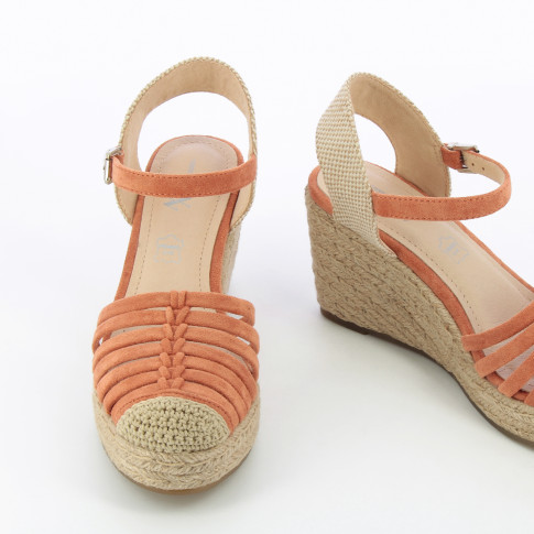 Brick red openwork wedge sandals