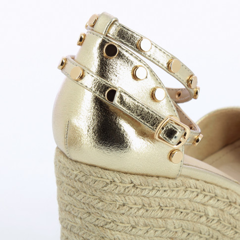 Gold wedge sandals with gold studs