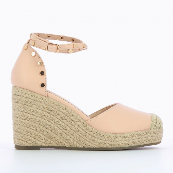 pale pink wedges with ankle strap and round gold studs beige rope heel woman Vanessa Wu