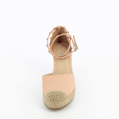 Pale pink wedge sandals with gold studs
