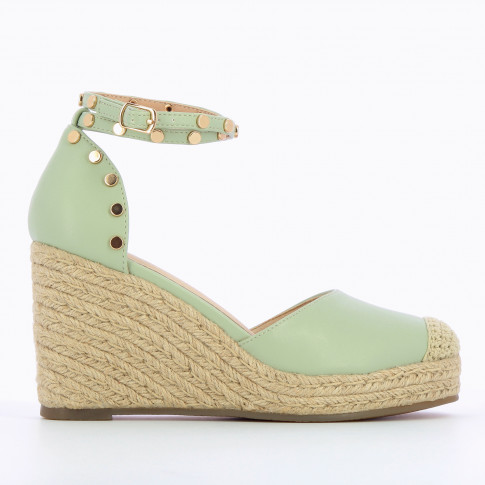 Almond green wedge sandals with gold studs