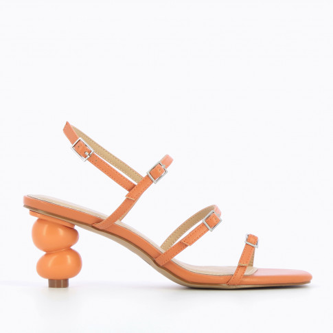 Apricot sandals with ball heel