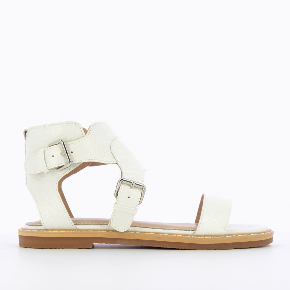 flat sandals white with high straps faux leather textured woman Vanessa Wu padded sole