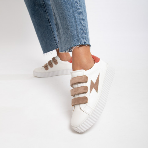 White lightning sneakers with nude velcro