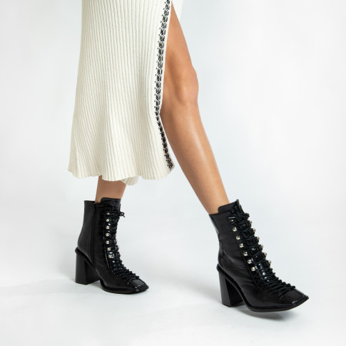 Black cancan ankle boots in croco effect