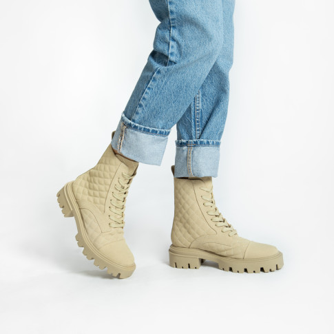 Beige padded combat boots