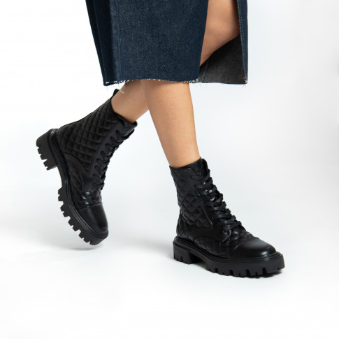Black faux leather padded combat boots